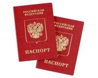 Dos pasaportes internacionales rusos Imagenes de archivo
