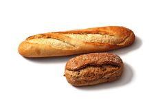 Dos pedazos de artículos de panadería Imágenes de archivo libres de regalías