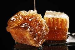 Dos pedazos de panal orgánico con la miel aislada en fondo negro Fotos de archivo libres de regalías