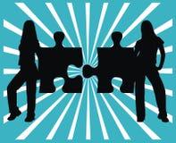 Dos pedazos y muchachas del rompecabezas Imagen de archivo libre de regalías