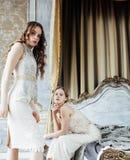 Dos peinados rizados rubios de las hermanas bastante gemelas en interior de lujo de la casa junto, concepto rico de la gente jove fotos de archivo libres de regalías