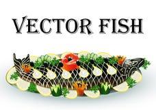 Dos peixes fritados enchidos com limão e vegetais Imagem de Stock Royalty Free