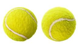Dos pelotas de tenis aisladas Imagen de archivo