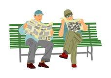 Dos pensionistas leyeron los periódicos en el banco en parque Ilustración del vector aislada en el fondo blanco fotos de archivo