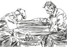Dos pensionistas que juegan a ajedrez en el banco Vector libre illustration