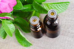 Dos pequeñas botellas de aroma esencial cosmético natural engrasan para el skincare y el aromatherapy Imágenes de archivo libres de regalías