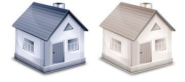 Dos pequeñas casas de la aldea ilustración del vector