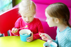 Dos pequeñas hermanas lindas que comen el helado junto Fotografía de archivo