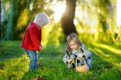 Dos pequeñas hermanas que juegan afuera Imagen de archivo libre de regalías