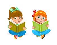 Dos pequeñas muchachas felices leyeron los libros ilustración del vector