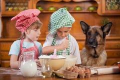 Dos pequeños cocineros que gozan en la cocina que hace lío grande alemán foto de archivo libre de regalías