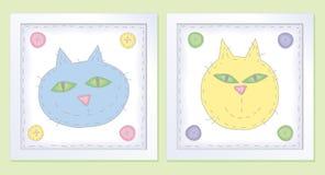 Dos pequeños gatos en colores pastel Fotografía de archivo