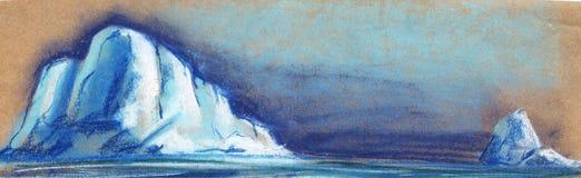 Dos pequeños icebergs blancos en el fondo del cielo nocturno Pintado con el pastel en el ejemplo del papel stock de ilustración