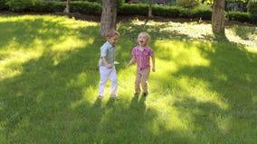 Dos pequeños muchachos alegres saltan en el parque en hierba almacen de metraje de vídeo