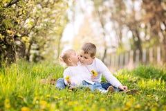 Dos pequeños niños caucásicos lindos, muchacho y muchacha, sentándose en una hierba Imagen de archivo libre de regalías