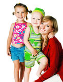 Dos pequeños niños con la madre Foto de archivo libre de regalías