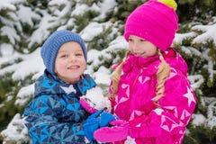 Dos pequeños niños felices en un bosque nevoso Fotografía de archivo