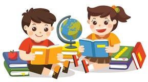 Dos pequeños niños que celebran los libros abiertos y la lectura Vector aislado stock de ilustración