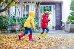 Dos pequeños otoños de los muchachos de los mejores amigos y de los niños parquean en cl colorido Fotos de archivo