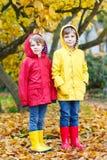 Dos pequeños otoños de los muchachos de los mejores amigos y de los niños parquean en ropa colorida Fotos de archivo