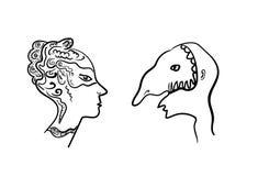 Dos perfiles enmascarados masquerade Imagen de archivo libre de regalías