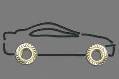 Dos pernos que hacen un concepto del dibujo del coche en fondo gris Fotos de archivo libres de regalías