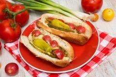 Dos perritos calientes deliciosos con el tomate y la pimienta Fotografía de archivo libre de regalías