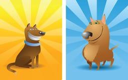 Dos perros divertidos del vector stock de ilustración