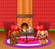 Dos perros muerden los globos del corazón en una sala de estar romántica libre illustration