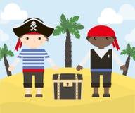 Dos personajes de dibujos animados de piratas con el cofre del tesoro en la isla Ejemplo del vector de piratas Imagen de archivo