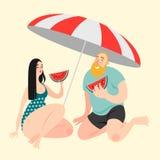 Dos personajes de dibujos animados divertidos que comen la sandía en la playa ilustración del vector
