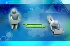 Dos personas 3d que sostienen los ordenadores portátiles están conectadas con las flechas ilustración del vector