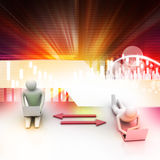 Dos personas 3d que sostienen los ordenadores portátiles están conectadas con las flechas Imagenes de archivo