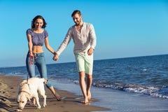 Dos personas jovenes que corren en la playa que se besa y que se sostiene firmemente con el perro Fotos de archivo libres de regalías