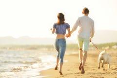 Dos personas jovenes que corren en la playa que se besa y que se sostiene firmemente con el perro Fotografía de archivo
