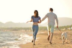 Dos personas jovenes que corren en la playa que se besa y que se sostiene firmemente con el perro Foto de archivo libre de regalías