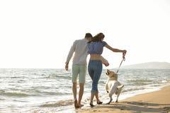 Dos personas jovenes que corren en la playa que se besa y que se sostiene firmemente con el perro Fotografía de archivo libre de regalías