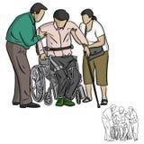 Dos personas que ayudan al hombre perjudicado a sentarse en la silla de ruedas para vector i stock de ilustración