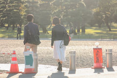 Dos personas que caminan en la manera junto Foto de archivo libre de regalías