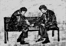 Dos personas que juegan a ajedrez en el banco libre illustration