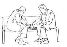 Dos personas que juegan a ajedrez en el banco Contorno negro stock de ilustración