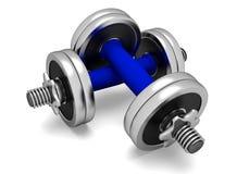 Dos pesas de gimnasia azules Imagen de archivo