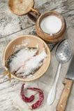 Dos pescados de las cucarachas en cuenco de cerámica con la sal. Fotos de archivo libres de regalías