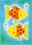 Dos pescados de oro, el dibujo del niño, pintura de la acuarela Imagenes de archivo