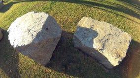 Dos piedras amarillas grandes en la hierba verde en un parque público en la puesta del sol Cámara de la acción almacen de metraje de vídeo