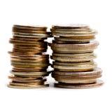 Dos pilas de las monedas Foto de archivo libre de regalías