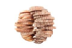 Dos pilas de pan cortado bajo la forma de esferas en un fondo blanco Aislado Imagenes de archivo