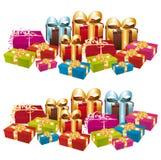 Dos pilas de regalos festivos coloridos. libre illustration
