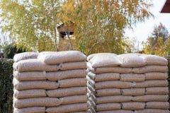 Dos pilas grandes con los sacos con la biomasa Imagen de archivo