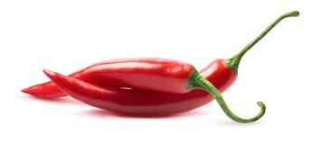 Dos pimientas de chile en el fondo blanco Imagenes de archivo